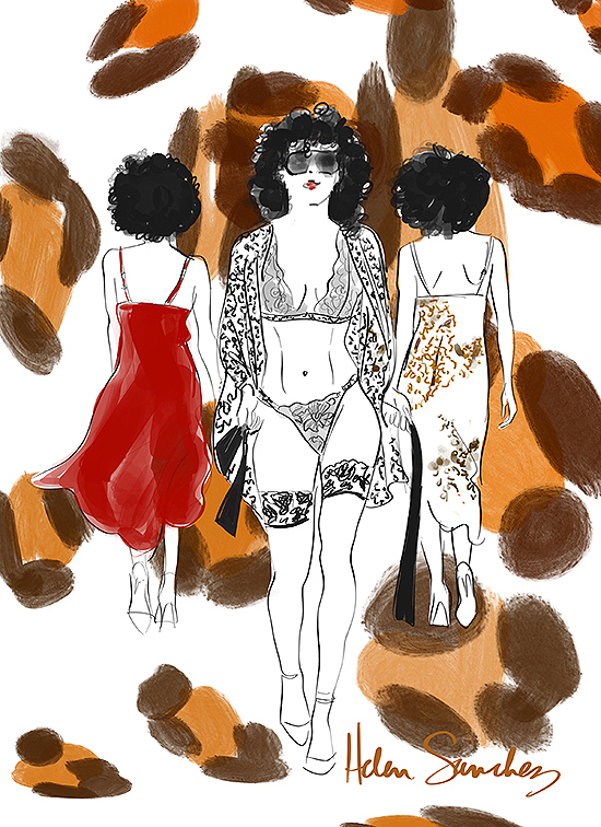 Fashion Illustration by Tina Wilson of Helen Sanchez Lingerie exclusively for Lingerie Briefs