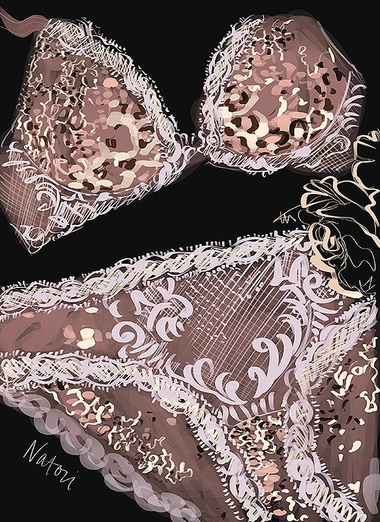 Fashion Illustration by Tina Wilson of Natori Feather Bra exclusively for Lingerie Briefs