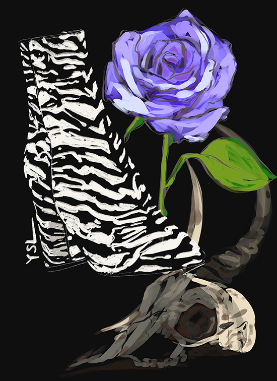 Fashion Illustration by Tina Wilson of YSL boots exclusively for Lingerie Briefs