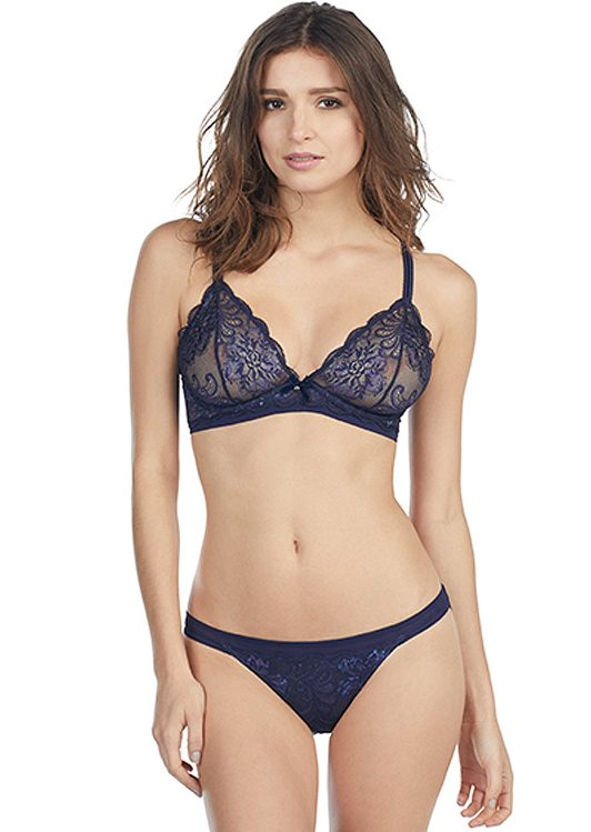Le Mystere Sophia Lace Underwire Bralette in Sapphire featured on Lingerie Briefs