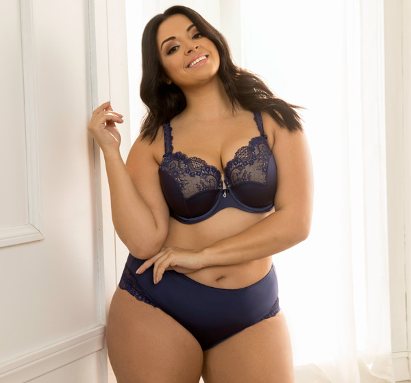 Curvy Couture Tulip Lace Push-Up Collection now in Navy featured on Lingerie Briefs