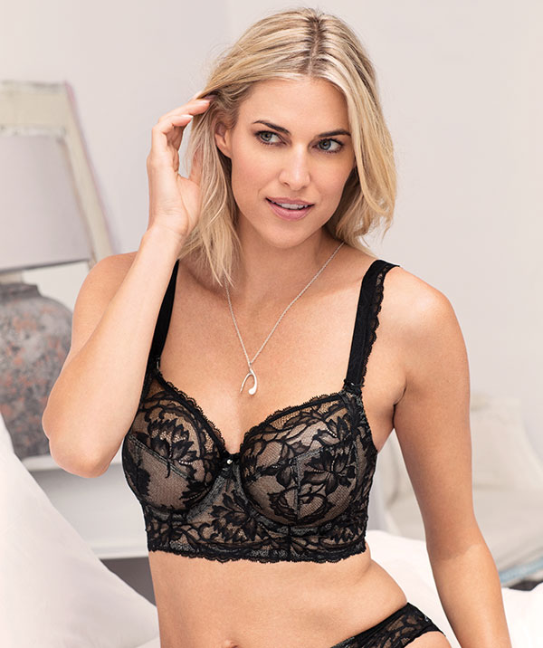 Fantasie Bronte Vertical side seam long liine bra in black as featured on Lingerie Briefs