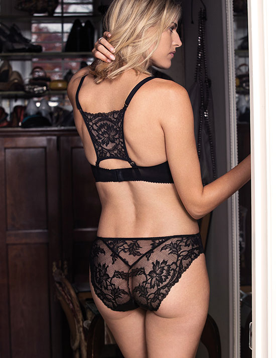 Fantasie Bronte Vertical side seam bra with removable back lace motif in black as featured on Lingerie Briefs