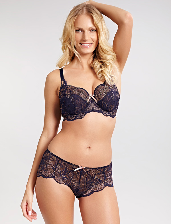 Andorra Full-Cup Bra in rich Navy with Gold accents featured on Lingerie Briefs