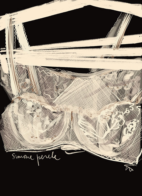 Tina Wilson illustrations of French Lingerie Loft, Simone Perele as featured on Lingerie Briefs