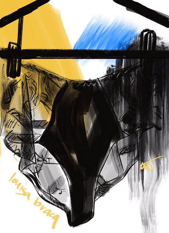 Tina Wilson illustrations of French Lingerie Loft, Louisa Bracq, as featured on Lingerie Briefs