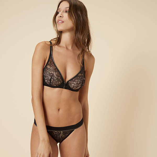 Simone Perele Afterwork Sheer Plunge and Thong on Lingerie Briefs