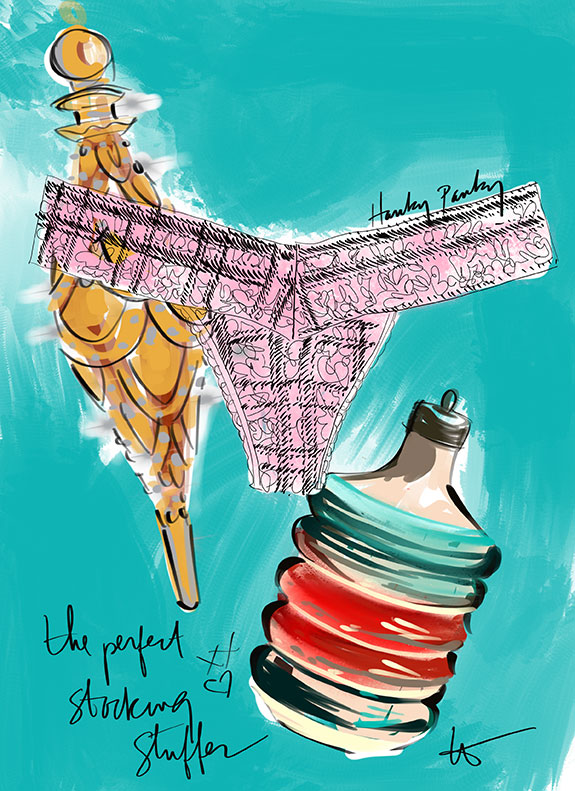 Holiday Fashion Illustrations, Hanky Panky, by Tina Wilson for Lingerie Briefs