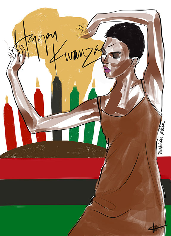 Holiday Fashion Illustrations, Nubian Skin, by Tina Wilson for Lingerie Briefs