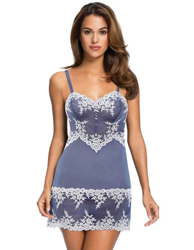 Wacoal Embrace Lace™ Chemise in new color combo - Bleached Denim and White featured on Lingerie Briefs