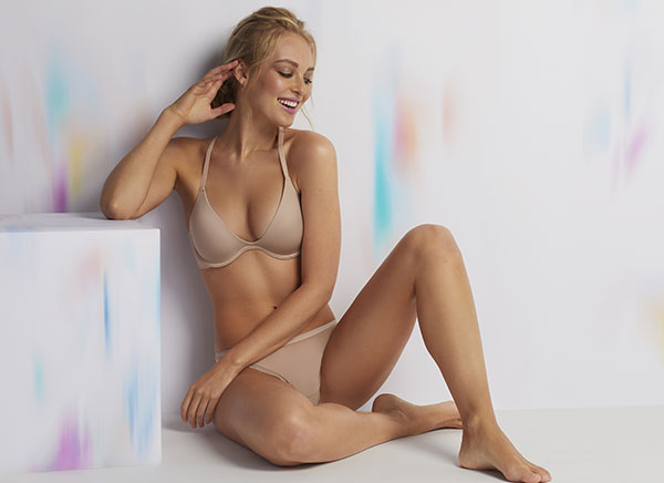 On Gossamer Beautifully Basic Lace Plunge Bra on Lingerie Briefs