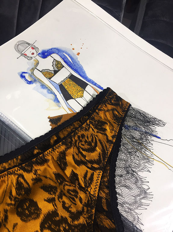 Camille Roucher work in progress as featured on Lingerie Briefs