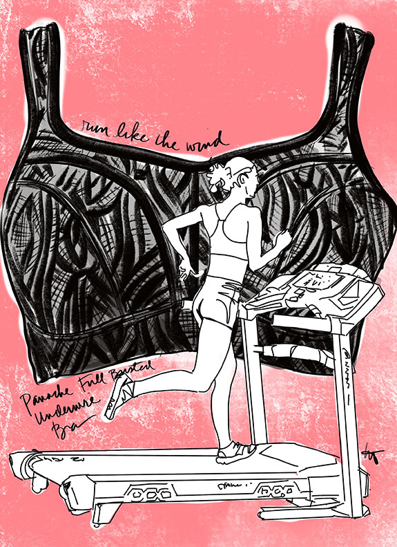 Panache Sports Bra illustrated for Lingerie Briefs by Tina Wilson