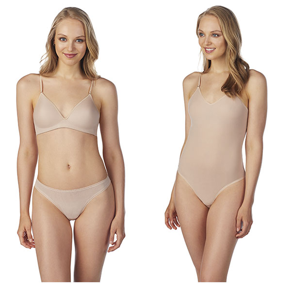 On Gossamer Nest to Nothing microfiber wireless bra and bodysuit in champagne on Lingerie Briefs