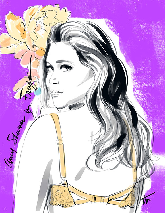 Fashion Illustration of Amy Shumer iin Freya Lingerie by Tina Wilson on Lingerie Briefs