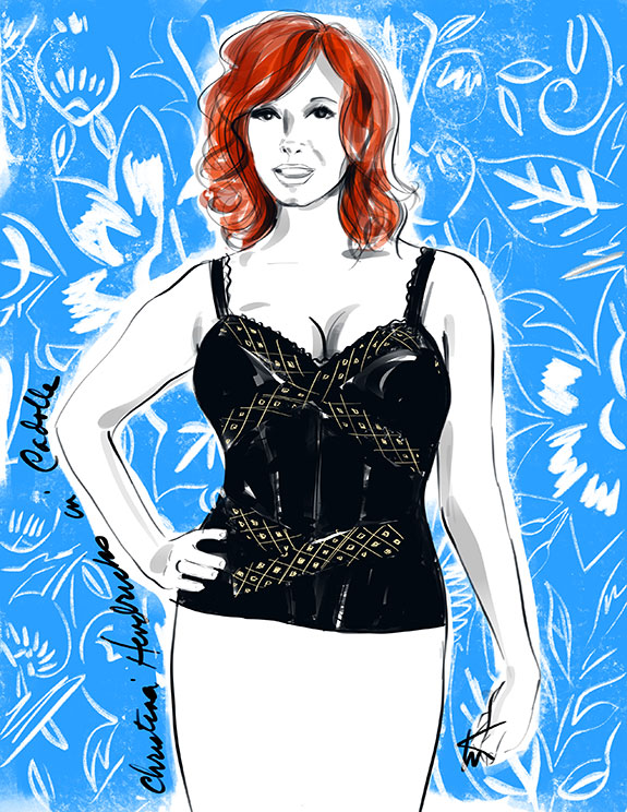 Fashion Illustration of Christina Hendriks in Cadolle Lingerie by Tina Wilson on Lingerie Briefs