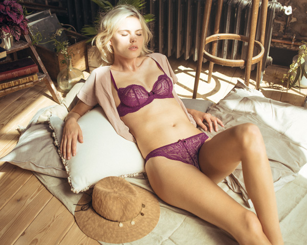 Simone Perele Eden Demi Plunge and Tanga in new color Blackberry featured on Lingerie Briefs