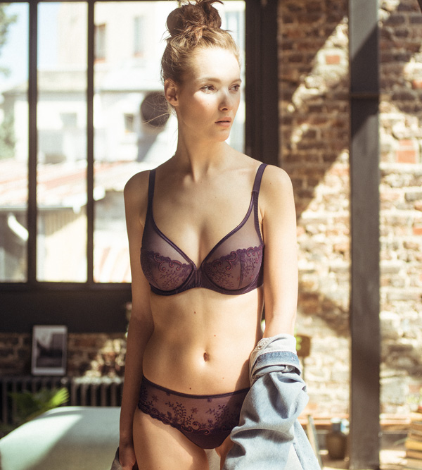 Simone Perele Delice Sheer Plunge and Boyshort in new color Hypnotic Purple featured on Lingerie Briefs