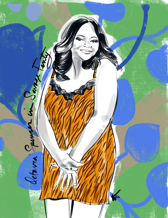 Fashion Illustration of Octavia Spencer in Savage Fenty Lingerie by Tina Wilson on Lingerie Briefs