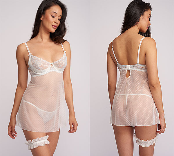 Montelle Sweet Encounters Bridal Babydoll on Lingerie Briefs