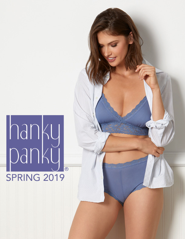 Organic Cotton intimates by Hanky Panky in new washed indigo blue featured on Lingerie Briefs