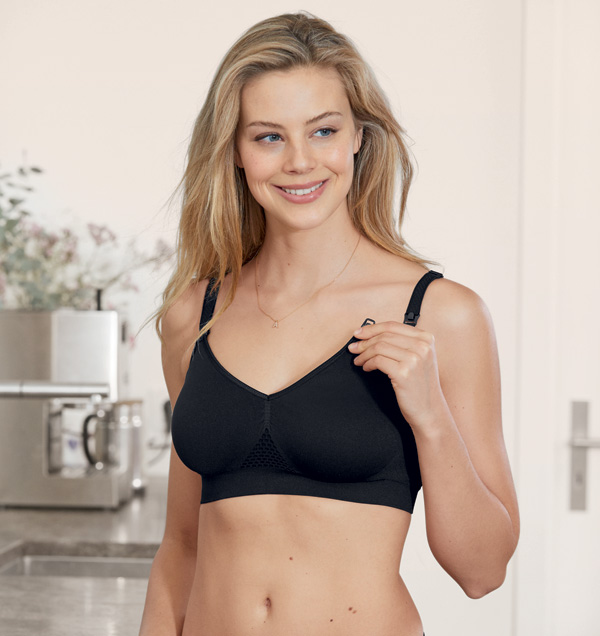 New Anita Seamless Nursing Bra #5096 in black featured on Lingerie Briefs
