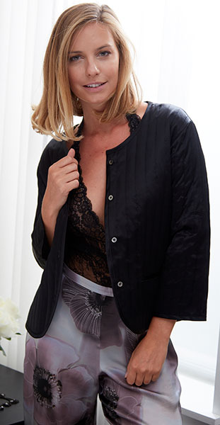 Samantha Chang Quitled Silk Bedjacket on Lingerie Briefs