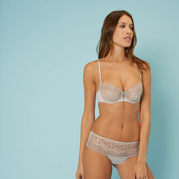 Simone Perele Java Demi bra in linen as featured on Lingerie Briefs