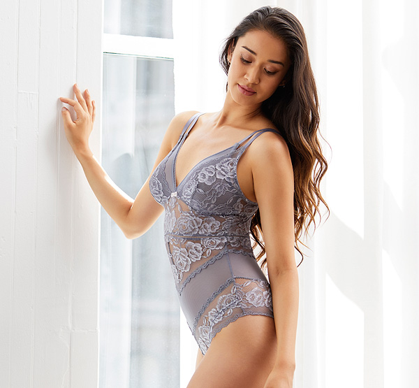 sexy Silver Dreams Triangle Bodysuit by Montelle featured on Lingerie Briefs