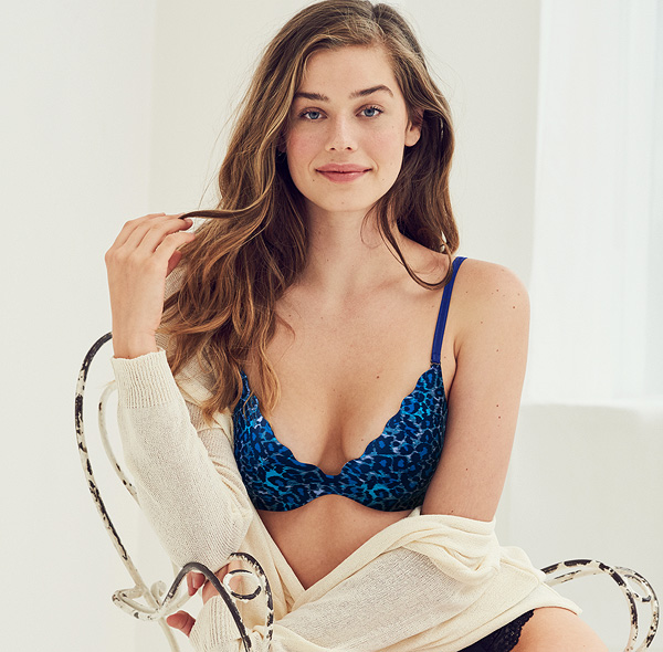 b.tempt'd b.wow'd Push Up Bra is now in a new on-trend blue/gray animal print. Featured on Lingerie Briefs