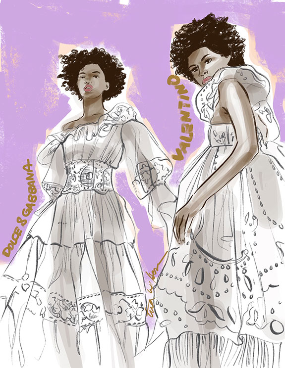 Dolce & Gabbana and Valentino white dresses illustrated by Tina Wilson for Lingerie Briefs