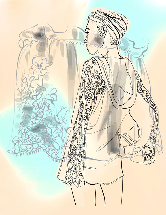 Layneau Bridal jacket illustrated by Tina Wilson for Lingerie Briefs