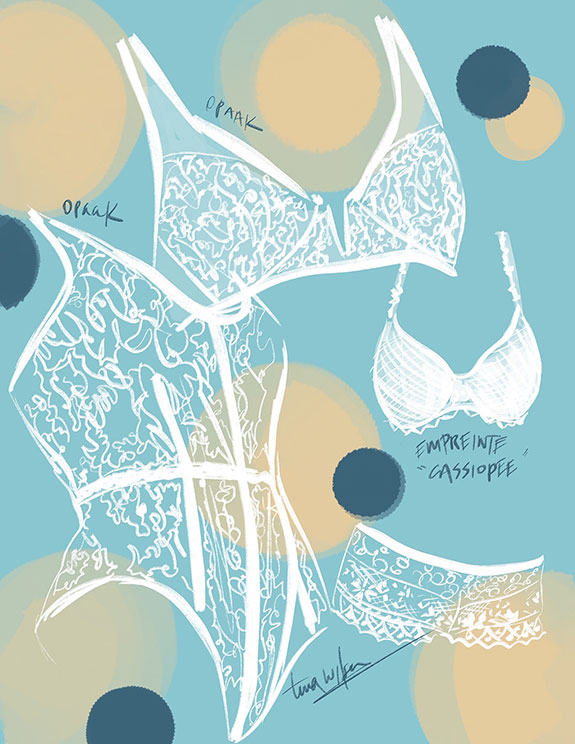 Opaak bodyusit and Empreinte Cassiopee Bra illustrated by Tina Wilson for Lingerie Briefs