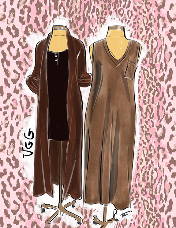 Ugg sleepwear as illustrated by Tina Wilson for Lingerie Briefs