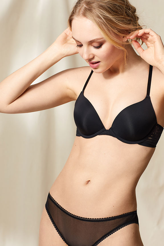 On Gossamer sleek micro push up bra for sizes A-DD, 32-36 in black on Lingerie Briefs