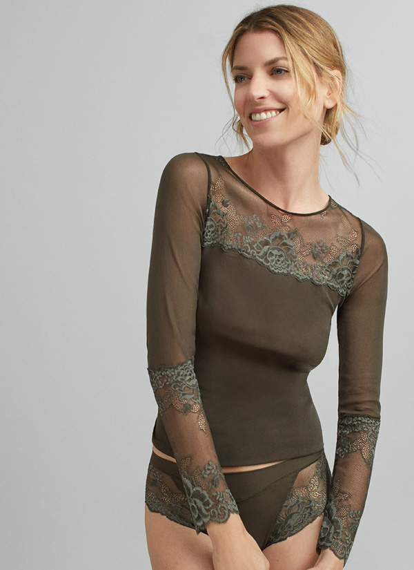 Janira Greta Collection Long sleeve t shirt in green featured on Lingerie Briefs