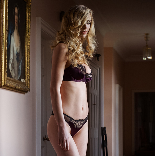 Emma Harris' Renee Blackcberry Balcony Bra and Thong featured on Lingerie Briefs
