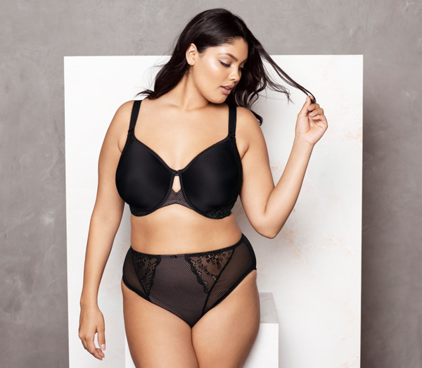 New from Elomi - Charley Spacer Moulded Bra in basic black - featured on Lingerie Briefs