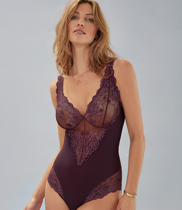 Janira Greta Sensual Sleeveless Bodysuit in lace and tulle featured on Lingerie Briefs