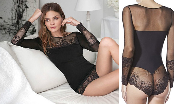 Janira Greta Sensual Bodysuit in lace and tulle featured on Lingerie Briefs