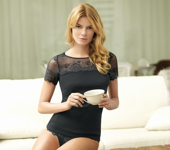 Janira Greta Collection short sleeve lace & tulle t shirt featured on Lingerie Briefs