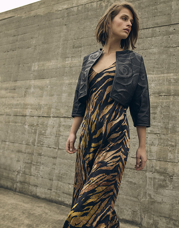 Jose Natori Tigress animal print gown as featured on Lingerie Briefs