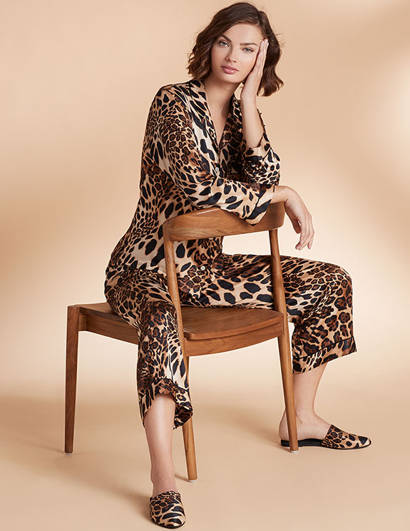 Natori Luxe Leopard animal print Pajamas and slippers as featured on Lingerie Briefs