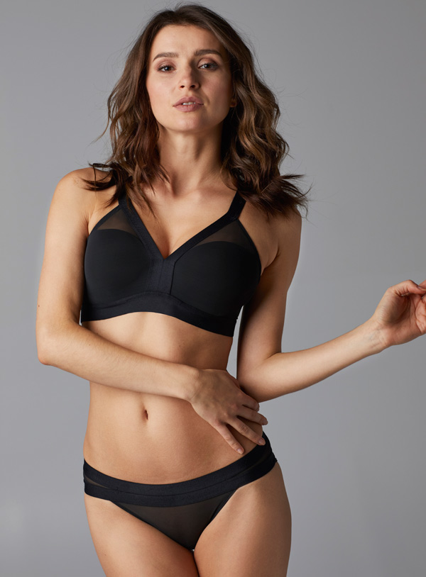 Le Mystere's Modern Mesh Contour Bra in black and shell - featured on Lingerie Briefs