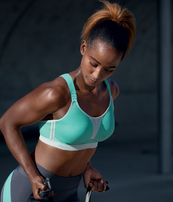 Anita Active DynamiXstar Racerback Sports Bra now in Pool Blue as featured on Lingerie Briefs