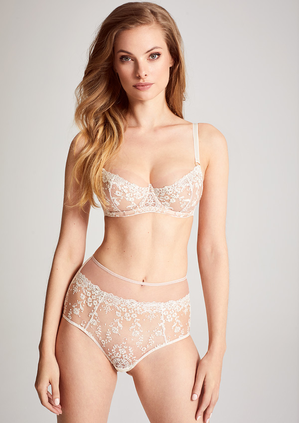 Katherine Hamilton SS20 ABRIELLE EMBROIDERED BRA in Chalk featured on Lingerie Briefs