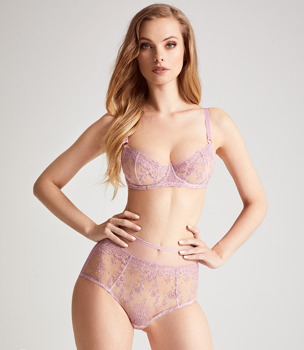 Katherine Hamilton SS20 ABRIELLE ROSE GOLD EMBROIDERED BRA featured on Lingerie Briefs