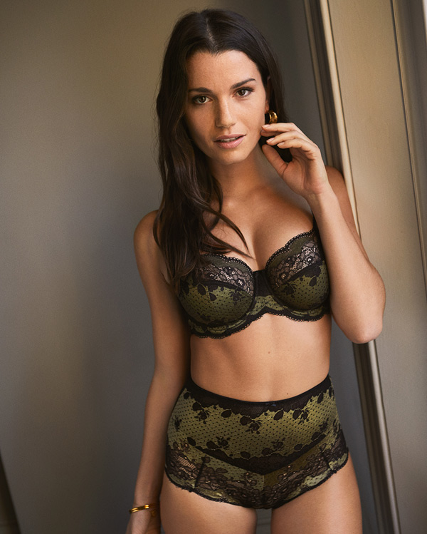 Panache's Clara presents a daring olive and black color combo featured on Lingerie Briefs