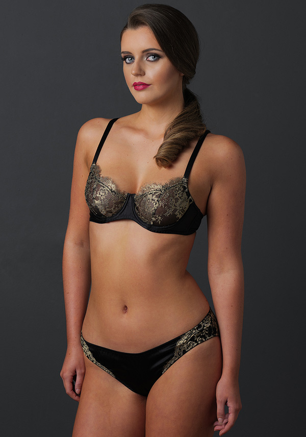 Emma Harris's new Cleo gold lace and black bra featured on Lingerie Briefs