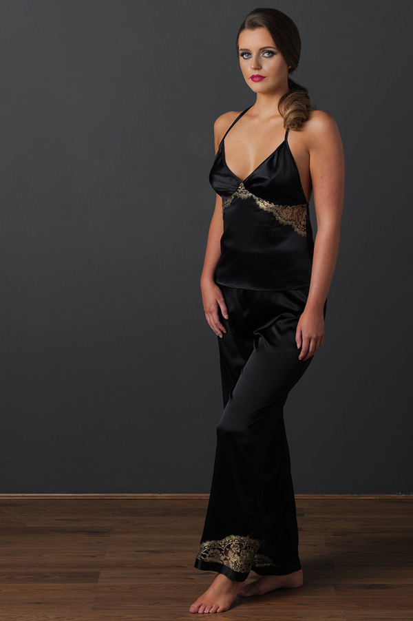 Emma Harris's new Cleo gold lace and black satin pajama set featured on Lingerie Briefs